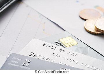 cartões crédito, e, moedas