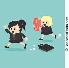 cartões, crédito, mulher, corrida, negócio
