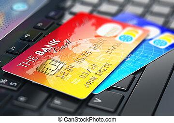 cartões, crédito, teclado portátil
