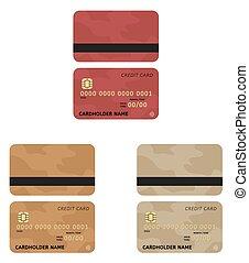 cartões, crédito, três