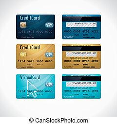 cartões, crédito, vetorial
