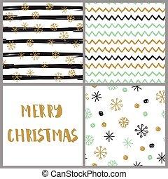 cartões, desenhado, jogo, natal, mão
