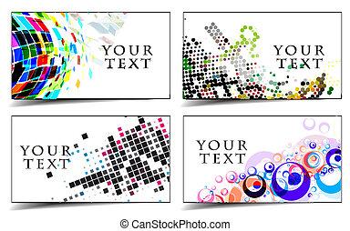 cartões, desenho, negócio, presente, &
