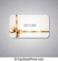 cartões, elegante, fita, arco presente
