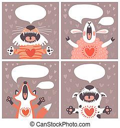 cartões, engraçado, jogo, animals.