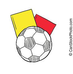 cartões, esboço, bola, dois, futebol