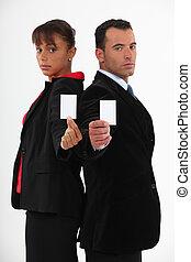 cartões, executivos, negócio, em branco