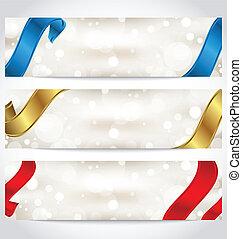 cartões, fitas, cobrança, presente