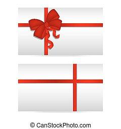 cartões, fitas, prata, presente, vermelho