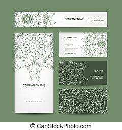 cartões, floral, cobrança, desenho, negócio