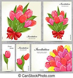 cartões, floral, projeto fixo, seu