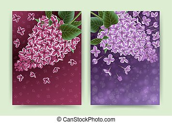 cartões, flores, lilás