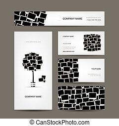cartões, foto, negócio, desenho, bordas
