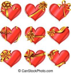 cartões, heart-shaped, vermelho