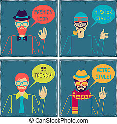 cartões, hipster, retro, style.