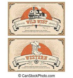cartões., ilustração, vetorial, quadro, vindima, ocidental