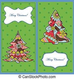 cartões, jogo, árvores natal