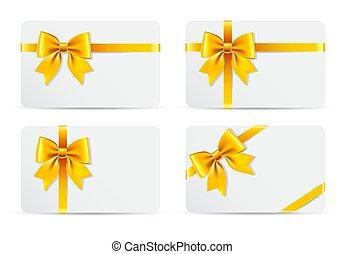 cartões, jogo, dourado, arco presente