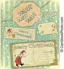 cartões, jogo, natal