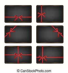 cartões, jogo, presente, ribbons.