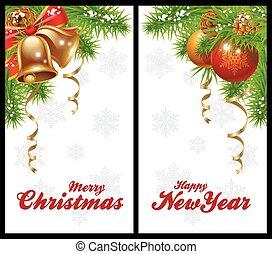 cartões, natal, saudação