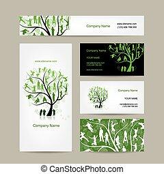 cartões, negócio, árvore, desenho, família
