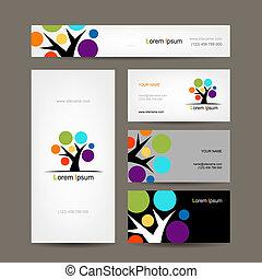 cartões negócio, cobrança, com, abstratos, árvore, para,...