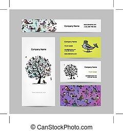 cartões negócio, desenho, arte, árvore, com, engraçado, pássaros