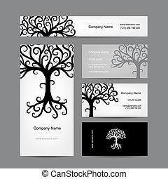 cartões negócio, desenho, com, abstratos, árvore, silueta