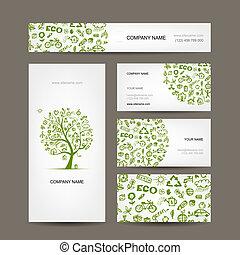 cartões negócio, desenho, verde, ecologia, conceito