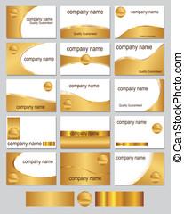 cartões, ouro, negócio, colorido