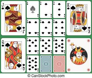 cartões, pás, tocando, paleto