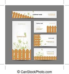 cartões, país, estilo, desenho, negócio