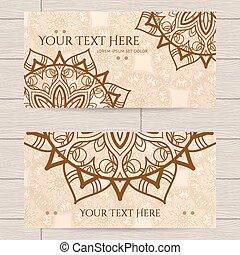 cartões, padrão, henna