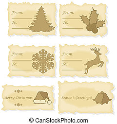 cartões, papel, antigas, impresso, natal