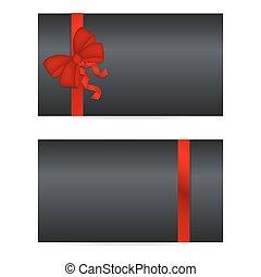cartões, pretas, fitas, vermelho, presente