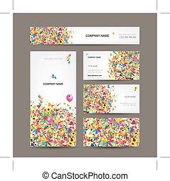 cartões, projeto fixo, seu, negócio