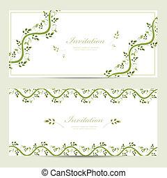 cartões, projeto floral, seu, convite
