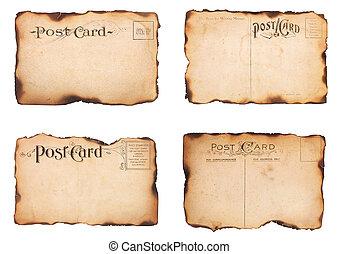 cartões, quatro, queimado, poste, vindima