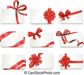 cartões, ribbons., vermelho, presente, festivo