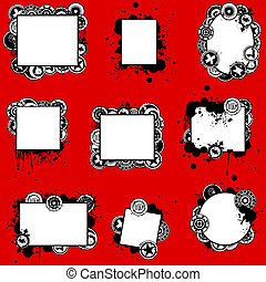 cartões, splatter, original, jogo, grunge