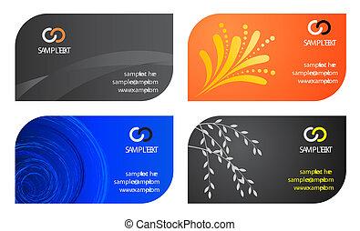 cartões, template., negócio