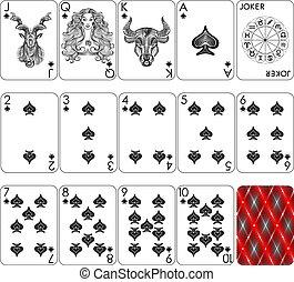 cartões, tocando, terno pá