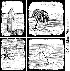 cartões, verão, hand-drawn