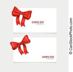cartões, vermelho, ribbons.