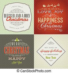 cartões, vindima, jogo, natal