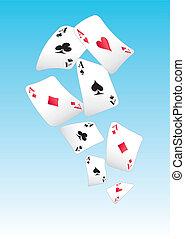 cartões, voando, tocando