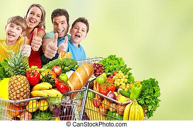 cart., épicerie commerciale, famille, heureux
