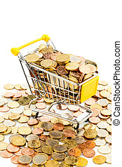 cart and euro coins - a shopping cart is filled with...