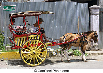Cart and horse - Old cart and horse in the centre of Manila